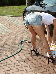 Sexy Teen Washes Car And Bare Pussy